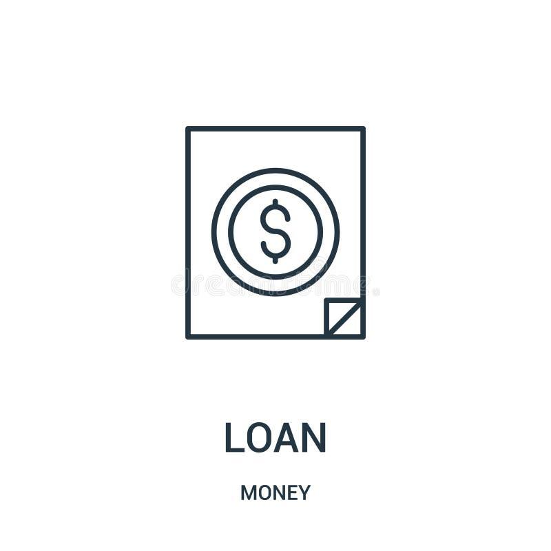 vetor do ícone do empréstimo da coleção do dinheiro Linha fina ilustra??o do vetor do ?cone do esbo?o do empr?stimo ilustração royalty free