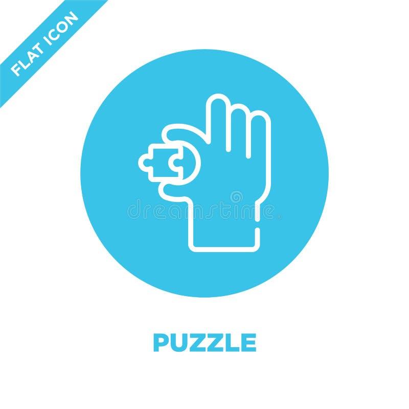 Vetor do ícone do enigma Linha fina ilustração do vetor do ícone do esboço do enigma símbolo do enigma para o uso na Web e em app ilustração royalty free
