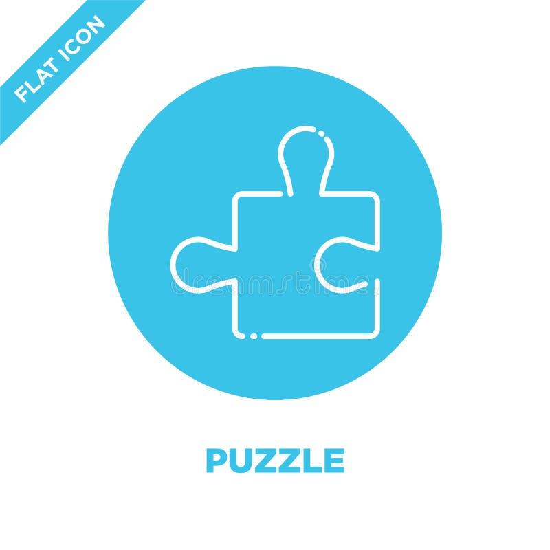 Vetor do ícone do enigma Linha fina ilustração do vetor do ícone do esboço do enigma símbolo do enigma para o uso na Web e em app ilustração stock