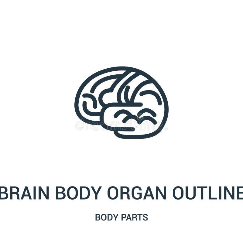 vetor do ícone do esboço do órgão do corpo do cérebro da coleção das partes do corpo Linha fina vetor do ícone do esboço do esboç ilustração stock
