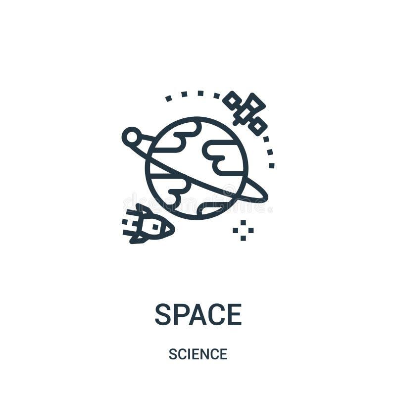 vetor do ícone do espaço da coleção da ciência Linha fina ilustração do vetor do ícone do esboço do espaço Símbolo linear para o  ilustração do vetor