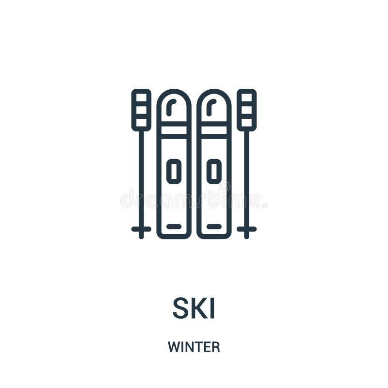 vetor do ícone do esqui da coleção do inverno Linha fina ilustração do vetor do ícone do esboço do esqui Símbolo linear para o us ilustração stock