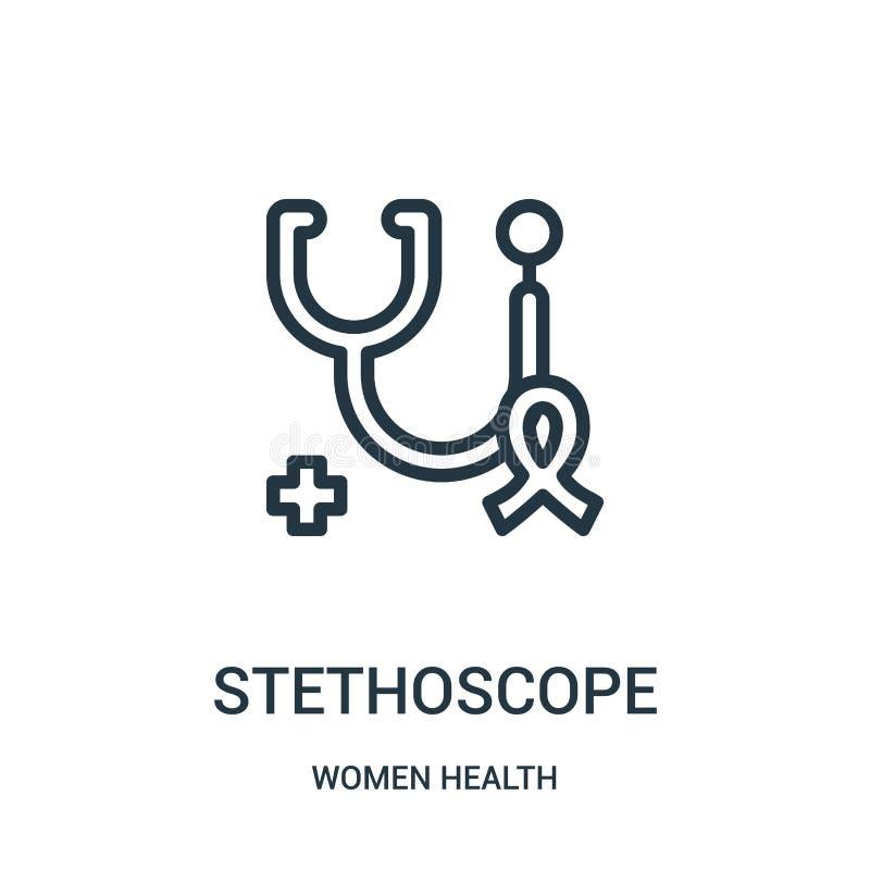 vetor do ícone do estetoscópio da coleção da saúde das mulheres Linha fina ilustração do vetor do ícone do esboço do estetoscópio ilustração stock