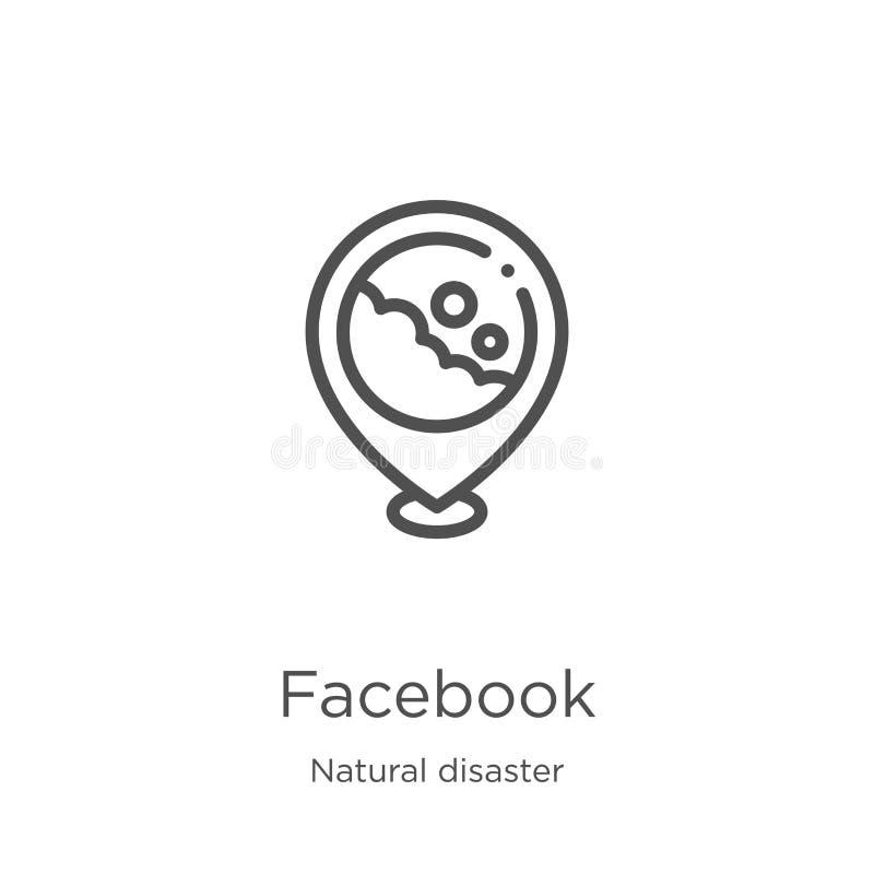vetor do ícone do facebook da coleção da catástrofe natural Linha fina ilustração do vetor do ícone do esboço do facebook Esbo?o, ilustração royalty free