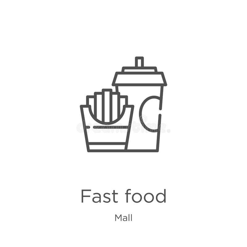 vetor do ícone do fast food da coleção da alameda Linha fina ilustra??o do vetor do ?cone do esbo?o do fast food Esboço, linha fi ilustração do vetor