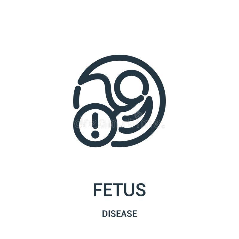 vetor do ícone do feto da coleção da doença Linha fina ilustração do vetor do ícone do esboço do feto Símbolo linear para o uso n ilustração stock