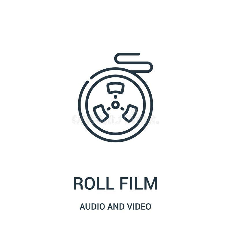 vetor do ícone do filme de rolo da coleção audio e video Linha fina ilustração do vetor do ícone do esboço do filme de rolo ilustração royalty free