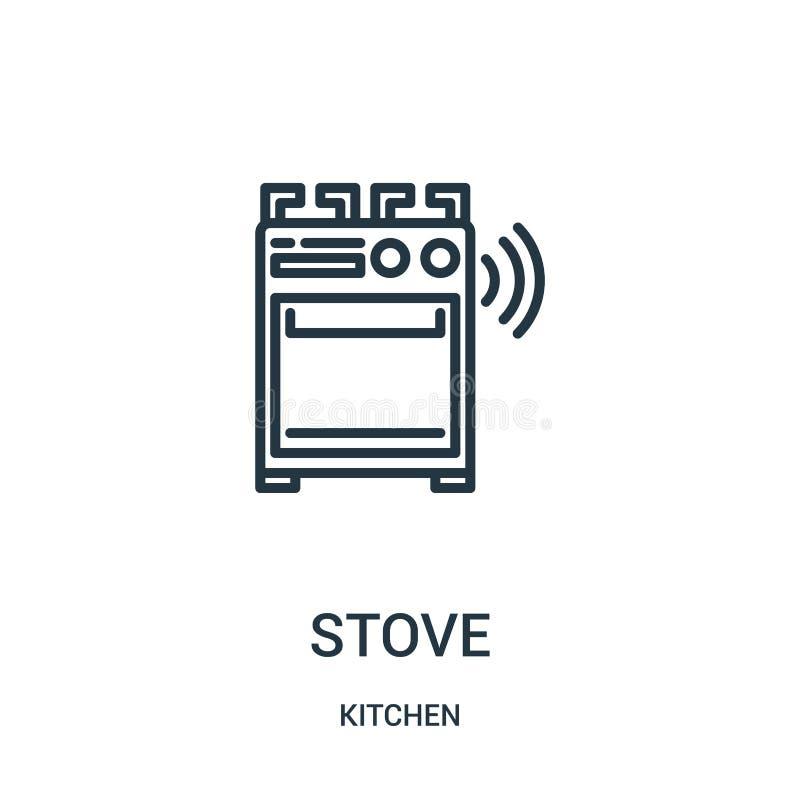 vetor do ícone do fogão da coleção da cozinha Linha fina ilustração do vetor do ícone do esboço do fogão Símbolo linear para o us ilustração stock