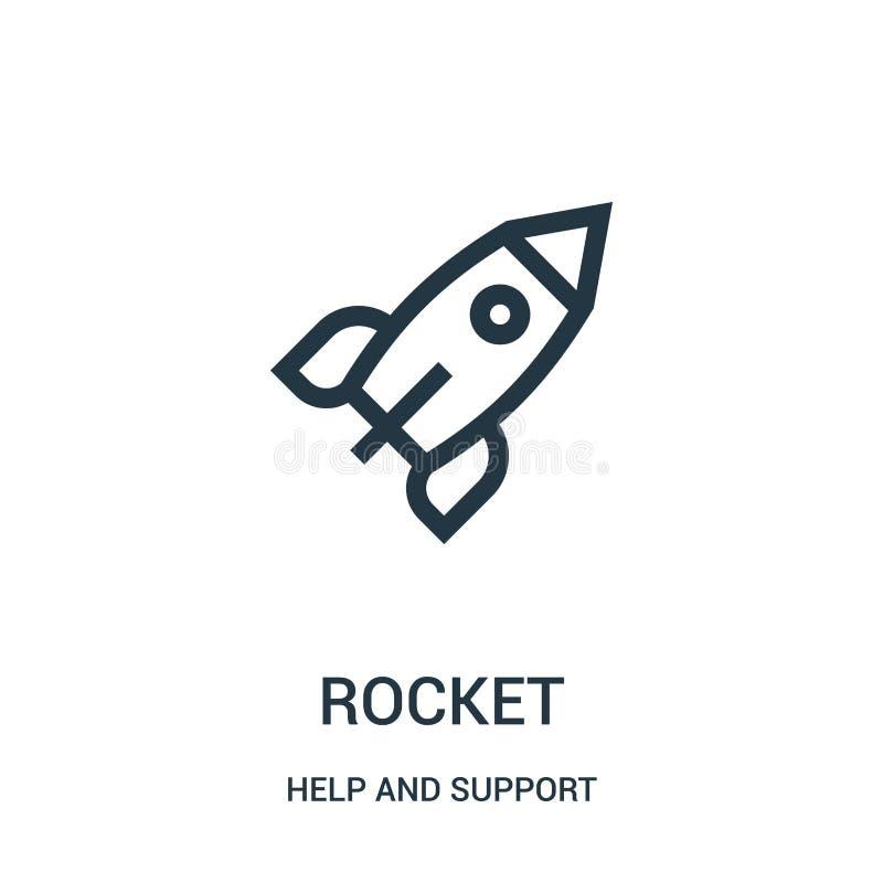 vetor do ícone do foguete da coleção da ajuda e do apoio Linha fina ilustração do vetor do ícone do esboço do foguete Símbolo lin ilustração stock