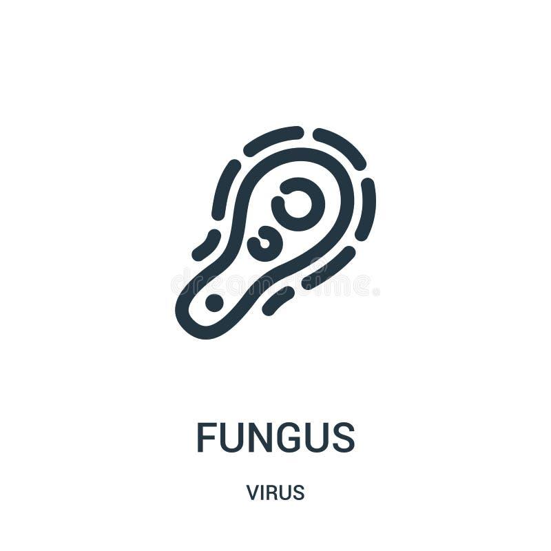 vetor do ícone do fungo da coleção do vírus Linha fina ilustração do vetor do ícone do esboço do fungo ilustração stock