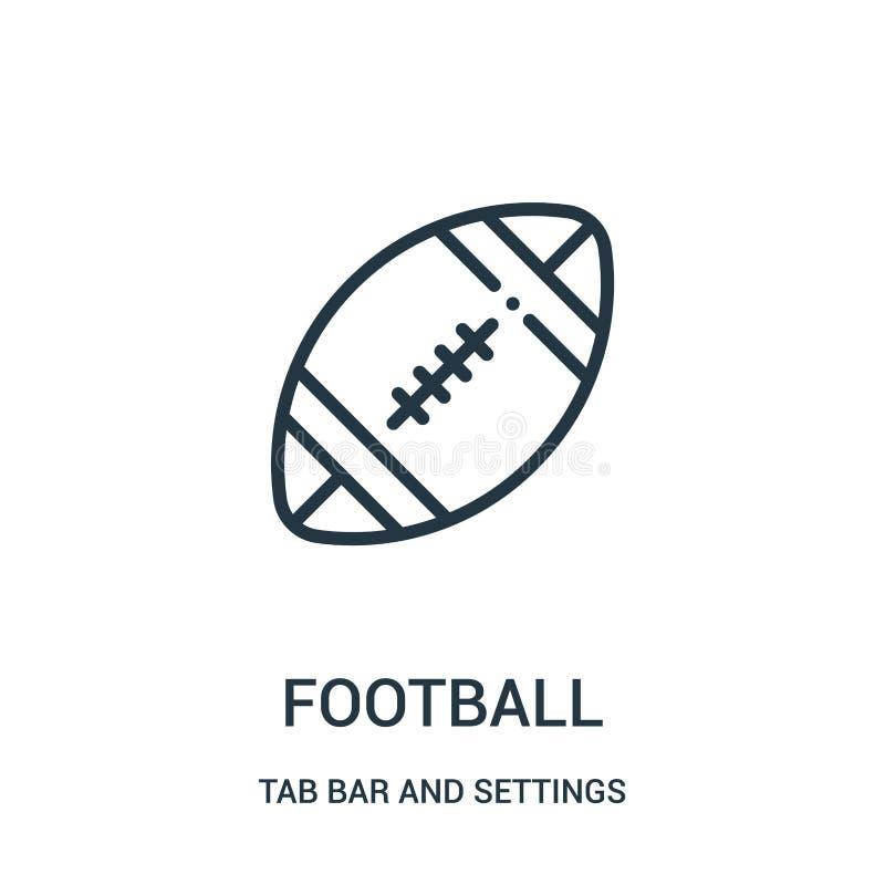 vetor do ícone do futebol da barra da aba e da coleção dos ajustes Linha fina ilustração do vetor do ícone do esboço do futebol ilustração stock