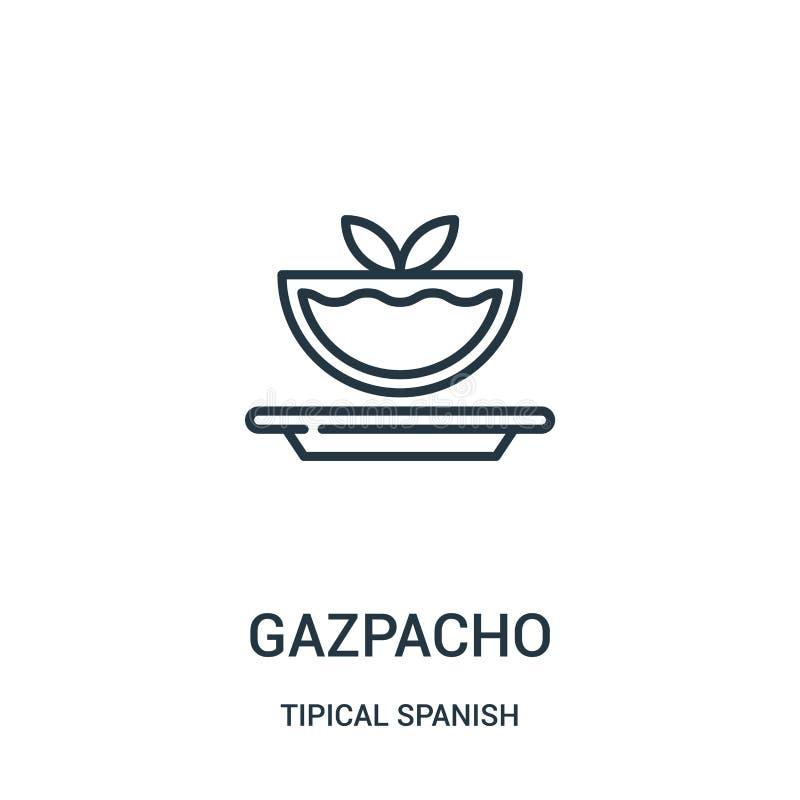 vetor do ícone do gazpacho da coleção espanhola tipical Linha fina ilustração do vetor do ícone do esboço do gazpacho Símbolo lin ilustração do vetor