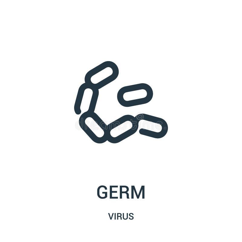 vetor do ícone do germe da coleção do vírus Linha fina ilustração do vetor do ícone do esboço do germe ilustração stock