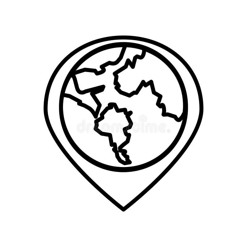 Vetor do ícone do globo isolado no fundo branco, no sinal do globo, na linha ou no sinal linear, projeto do elemento no estilo do ilustração do vetor