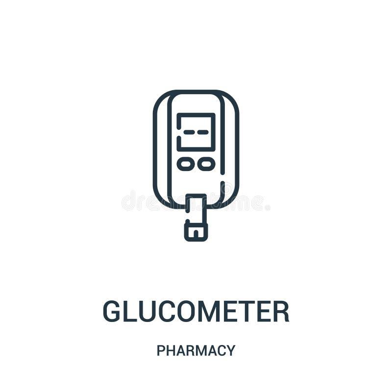 vetor do ícone do glucometer da coleção da farmácia Linha fina ilustração do vetor do ícone do esboço do glucometer ilustração stock