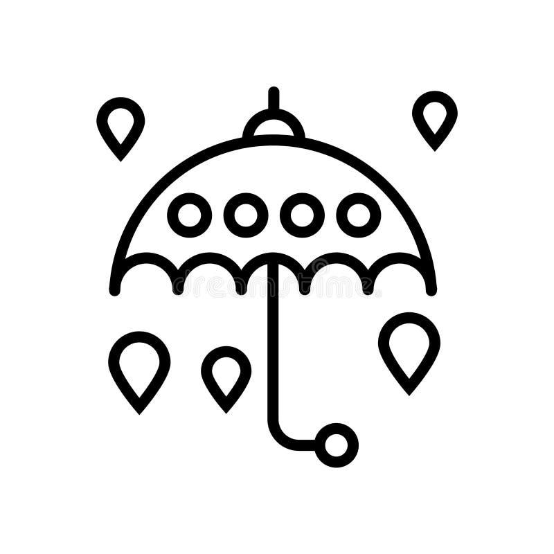 Vetor do ícone do guarda-chuva isolado no fundo branco, no sinal do guarda-chuva, na linha ou no sinal linear, projeto do element ilustração royalty free