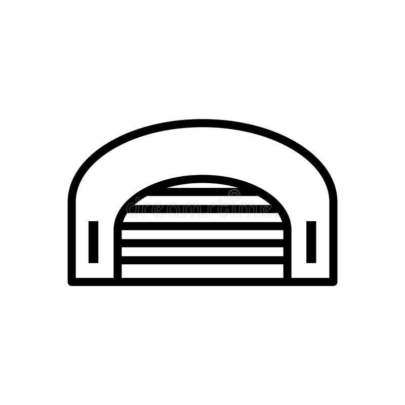 Vetor do ícone do hangar isolado no fundo branco, no sinal do hangar, na linha ou no sinal linear, projeto do elemento no estilo  ilustração do vetor