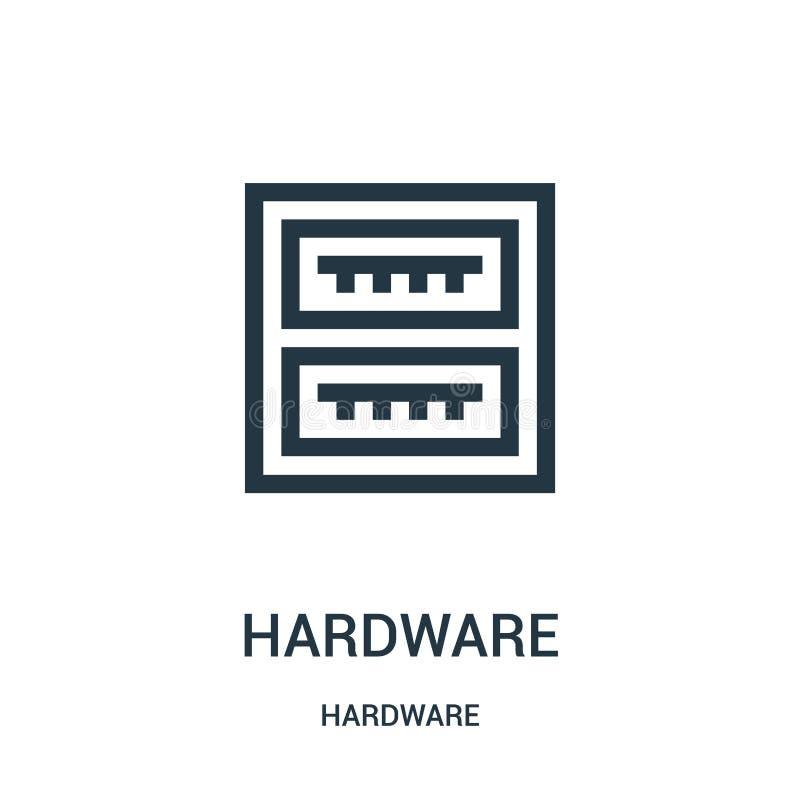 vetor do ícone do hardware da coleção do hardware Linha fina ilustra??o do vetor do ?cone do esbo?o do hardware ilustração royalty free