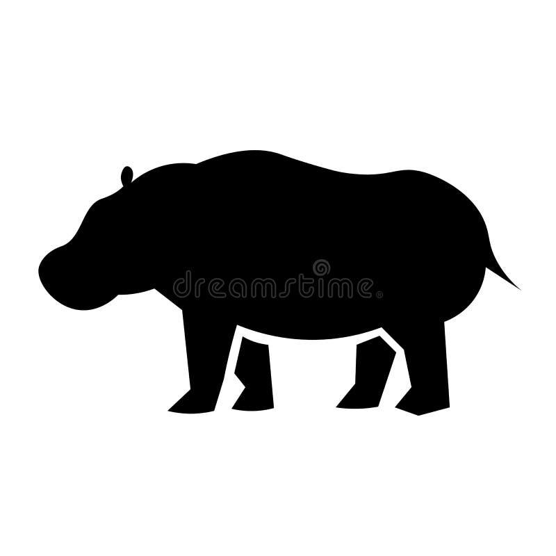 Vetor do ícone do hipopótamo ilustração stock
