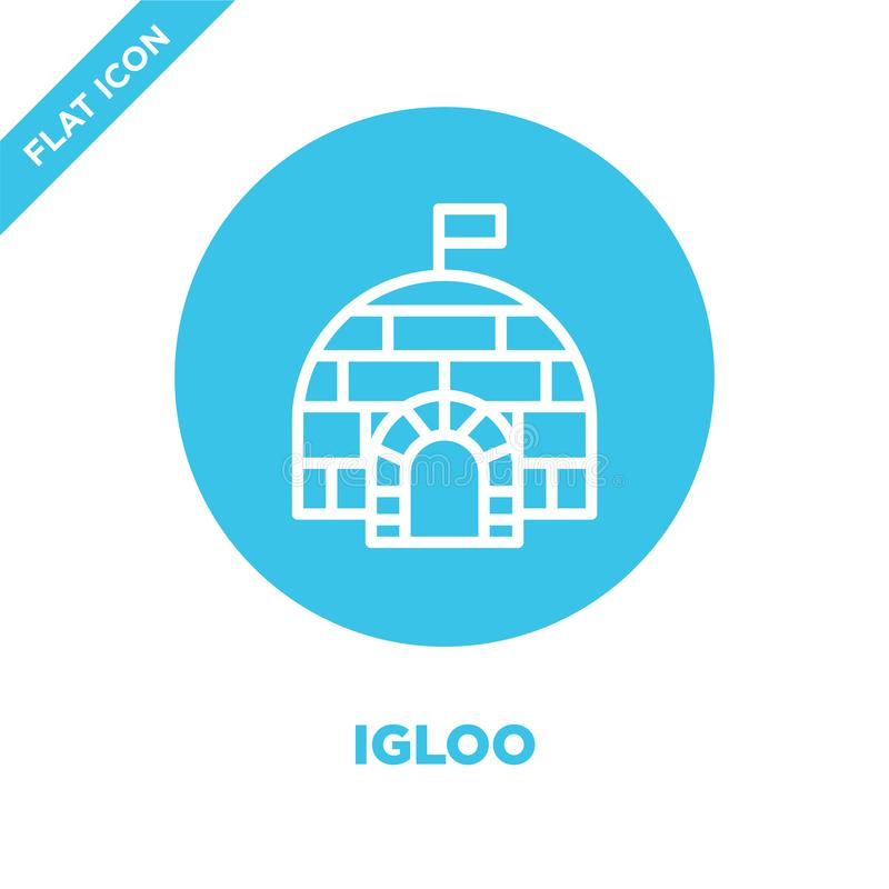vetor do ícone do iglu da coleção das estações Linha fina ilustração do vetor do ícone do esboço do iglu Símbolo linear para o us ilustração do vetor