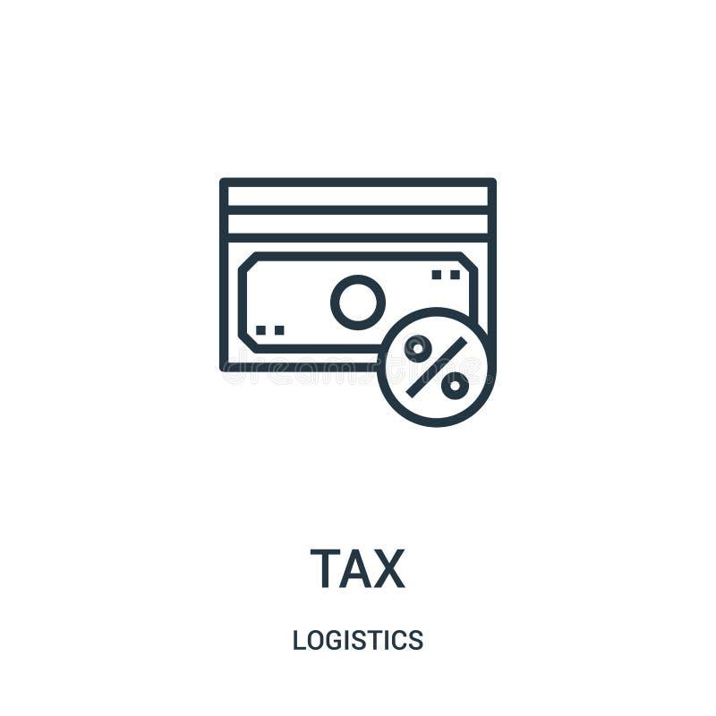 vetor do ícone do imposto da coleção da logística Linha fina ilustração do vetor do ícone do esboço do imposto Símbolo linear par ilustração royalty free