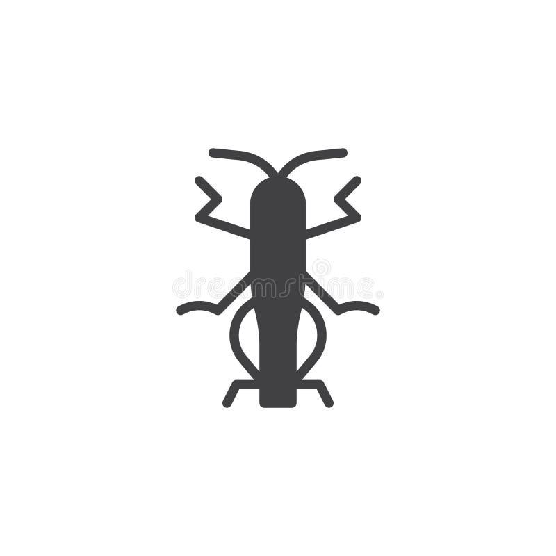Vetor do ícone do inseto do gafanhoto ilustração royalty free