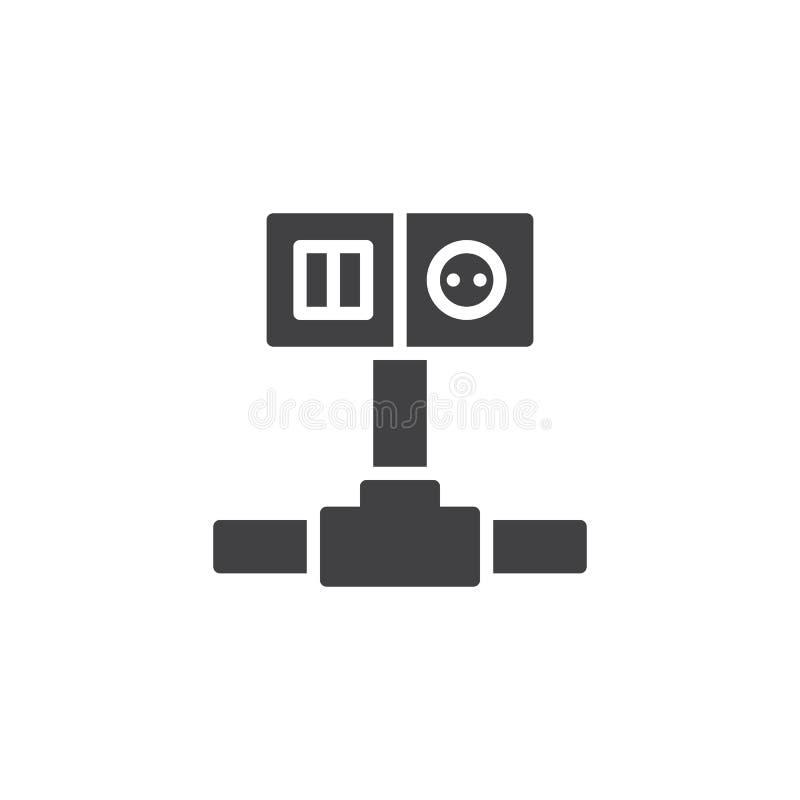 Vetor do ícone do interruptor e do soquete de fiação ilustração royalty free