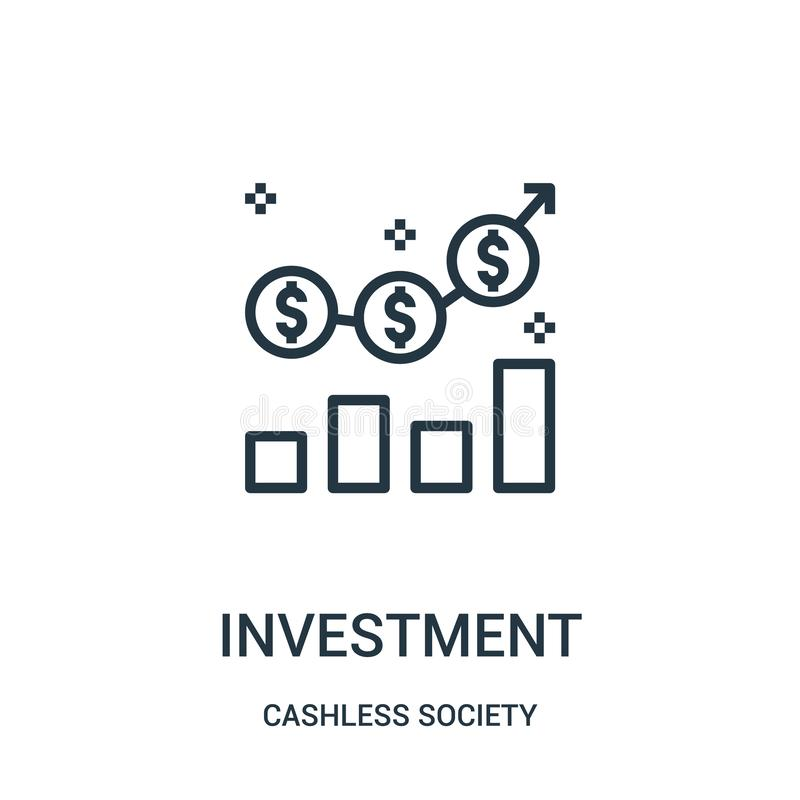 vetor do ícone do investimento da coleção cashless da sociedade Linha fina ilustração do vetor do ícone do esboço do investimento ilustração stock