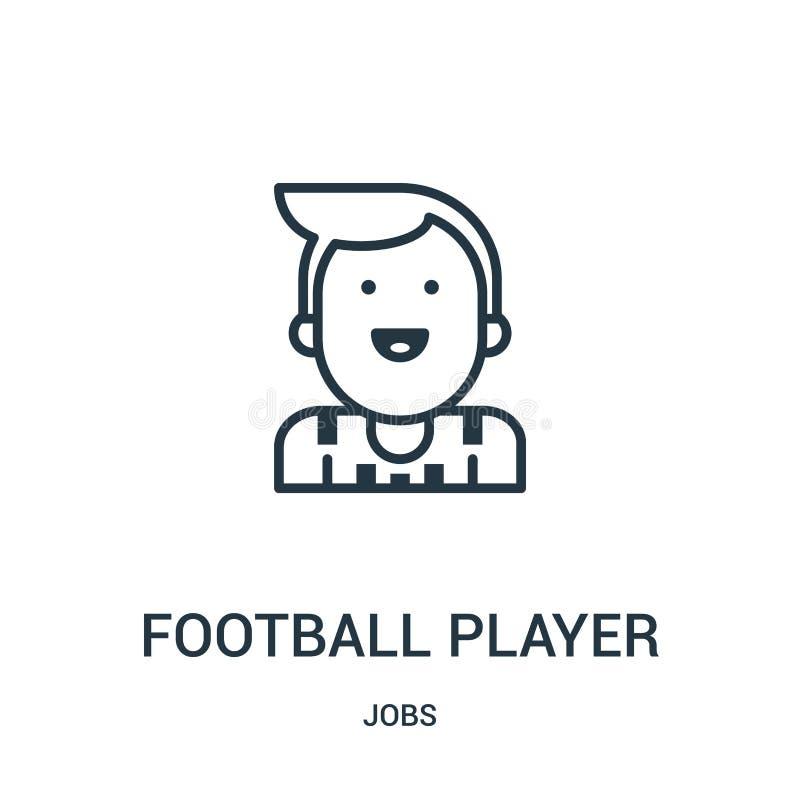 vetor do ícone do jogador de futebol da coleção dos trabalhos Linha fina ilustração do vetor do ícone do esboço do jogador de fut ilustração stock