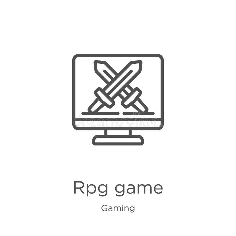 vetor do ícone do jogo do rpg da coleção do jogo Linha fina ilustração do vetor do ícone do esboço do jogo do rpg Esboço, linha f ilustração stock