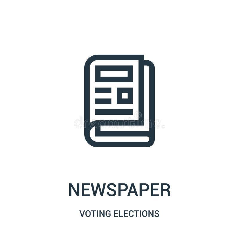 vetor do ícone do jornal da coleção de votação das eleições Linha fina ilustração do vetor do ícone do esboço do jornal ilustração do vetor