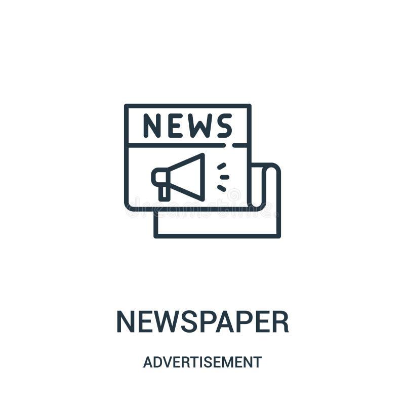 vetor do ícone do jornal da coleção da propaganda Linha fina ilustração do vetor do ícone do esboço do jornal ilustração stock