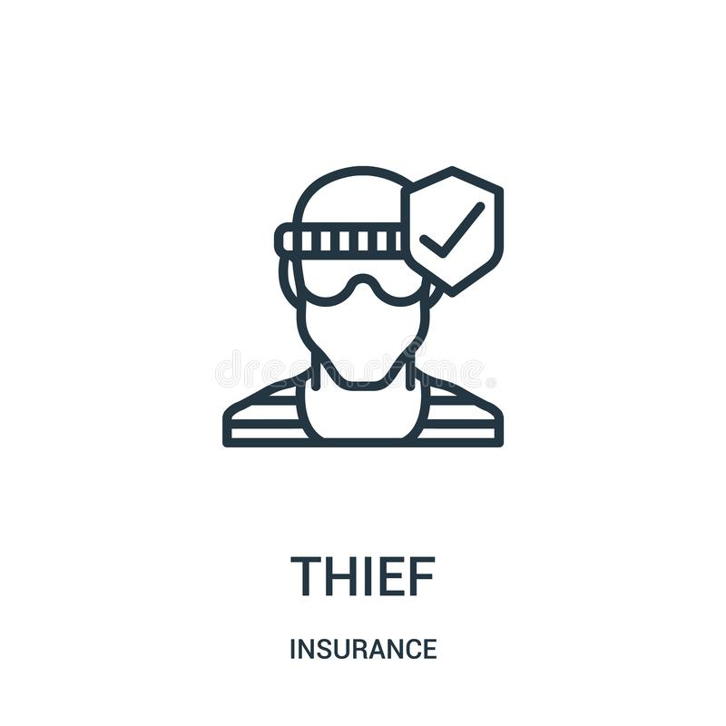 vetor do ícone do ladrão da coleção do seguro Linha fina ilustração do vetor do ícone do esboço do ladrão Símbolo linear ilustração stock