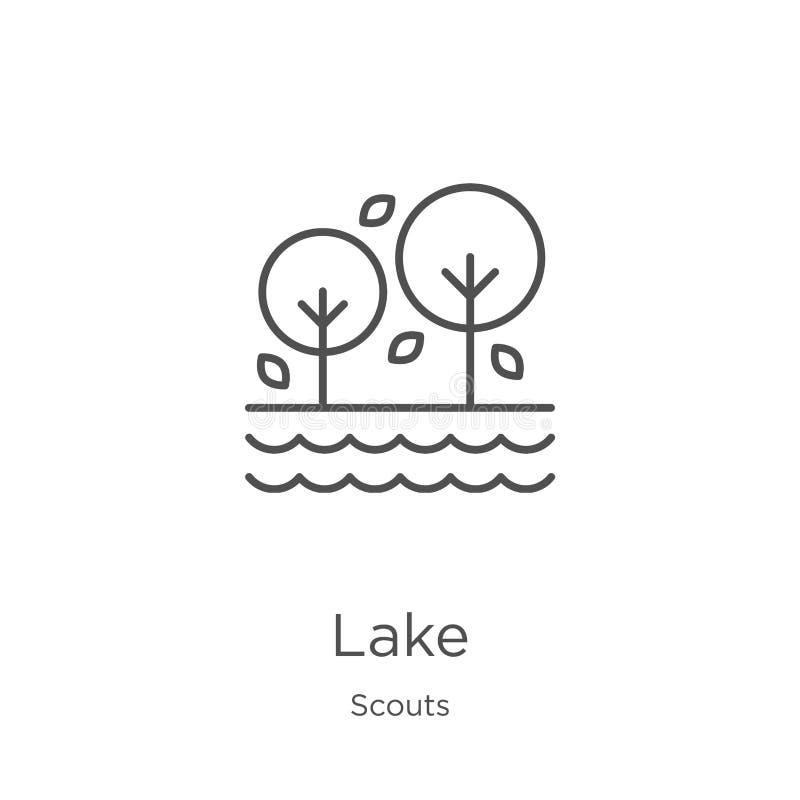 vetor do ícone do lago da coleção dos escuteiros Linha fina ilustração do vetor do ícone do esboço do lago Esboço, linha fina íco ilustração stock