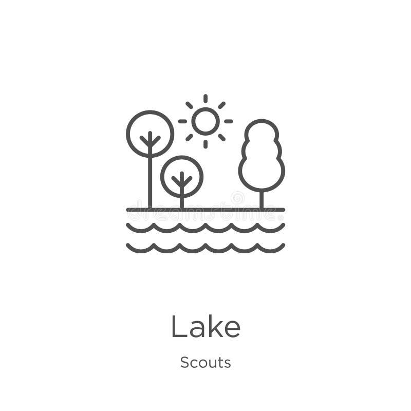 vetor do ícone do lago da coleção dos escuteiros Linha fina ilustração do vetor do ícone do esboço do lago Esboço, linha fina íco ilustração royalty free
