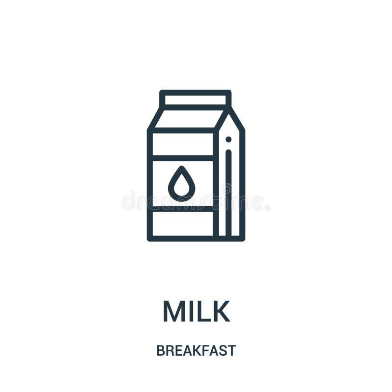 vetor do ícone do leite da coleção do café da manhã Linha fina ilustração do vetor do ícone do esboço do leite ilustração royalty free