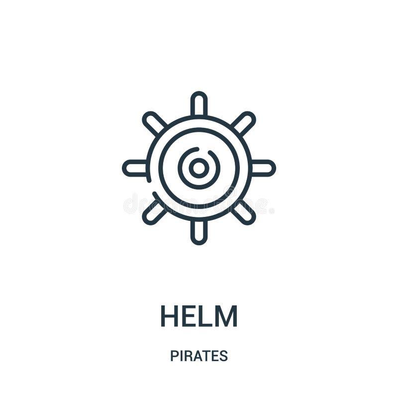 vetor do ícone do leme da coleção dos piratas Linha fina ilustração do vetor do ícone do esboço do leme Símbolo linear para o uso ilustração do vetor