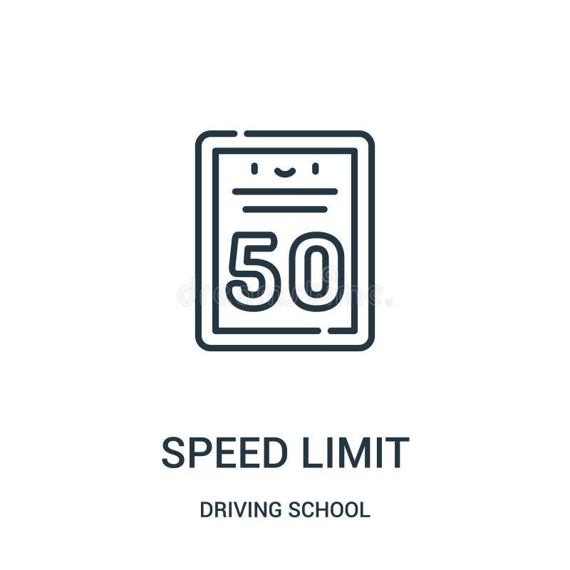vetor do ícone do limite de velocidade da coleção da escola de condução Linha fina ilustração do vetor do ícone do esboço do limi ilustração stock