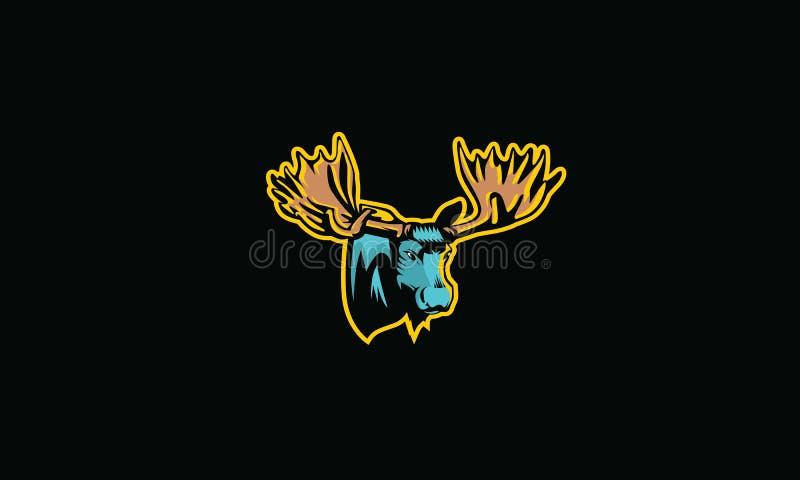 Vetor do ícone do logotipo da floresta dos alces ilustração stock