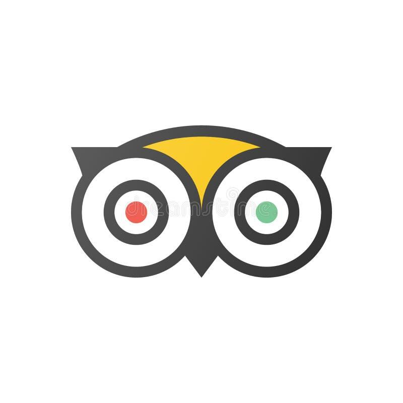 Vetor do ícone do logotipo de Tripadvisor - serviço popular com avaliação dos hotéis e das atrações para o curso ilustração stock