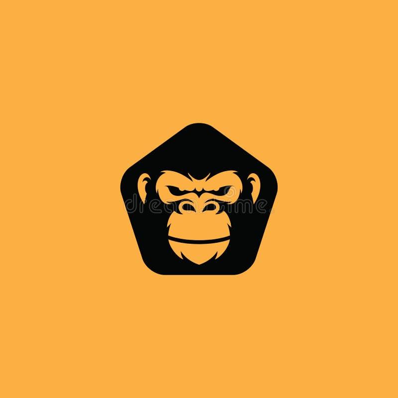 Vetor do ícone do logotipo do gorila ilustração stock