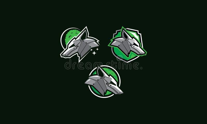 Vetor do ícone do logotipo do robô do lobo ilustração stock
