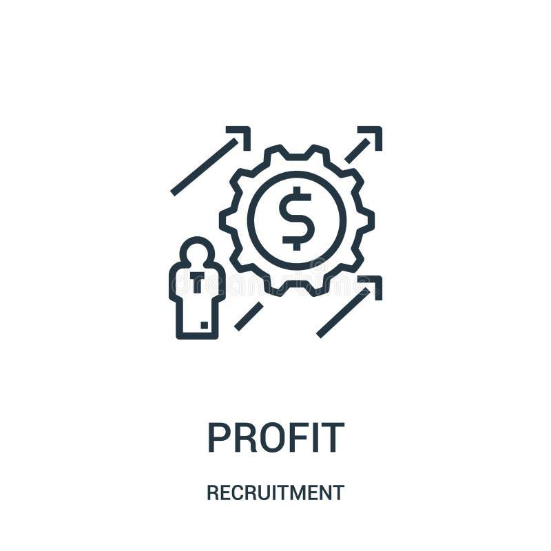 vetor do ícone do lucro da coleção do recrutamento Linha fina ilustração do vetor do ícone do esboço do lucro ilustração stock
