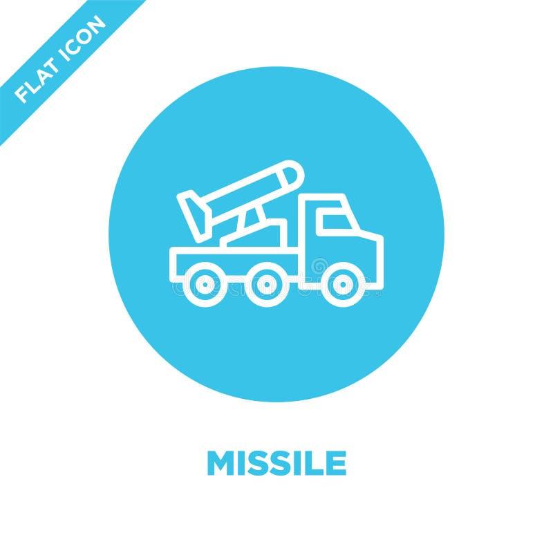 vetor do ícone do míssil da coleção militar Linha fina ilustração do vetor do ícone do esboço do míssil Símbolo linear para o uso ilustração royalty free