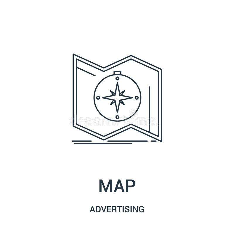 vetor do ícone do mapa de anunciar a coleção Linha fina ilustração do vetor do ícone do esboço do mapa Símbolo linear para o uso  ilustração royalty free