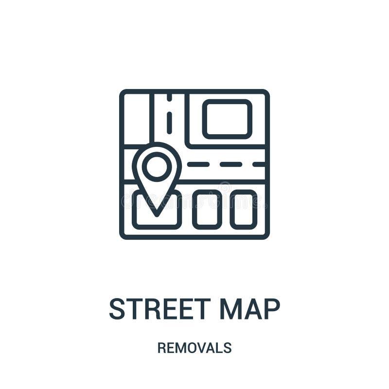 vetor do ícone do mapa de ruas da coleção das remoções Linha fina ilustração do vetor do ícone do esboço do mapa de ruas Símbolo  ilustração royalty free