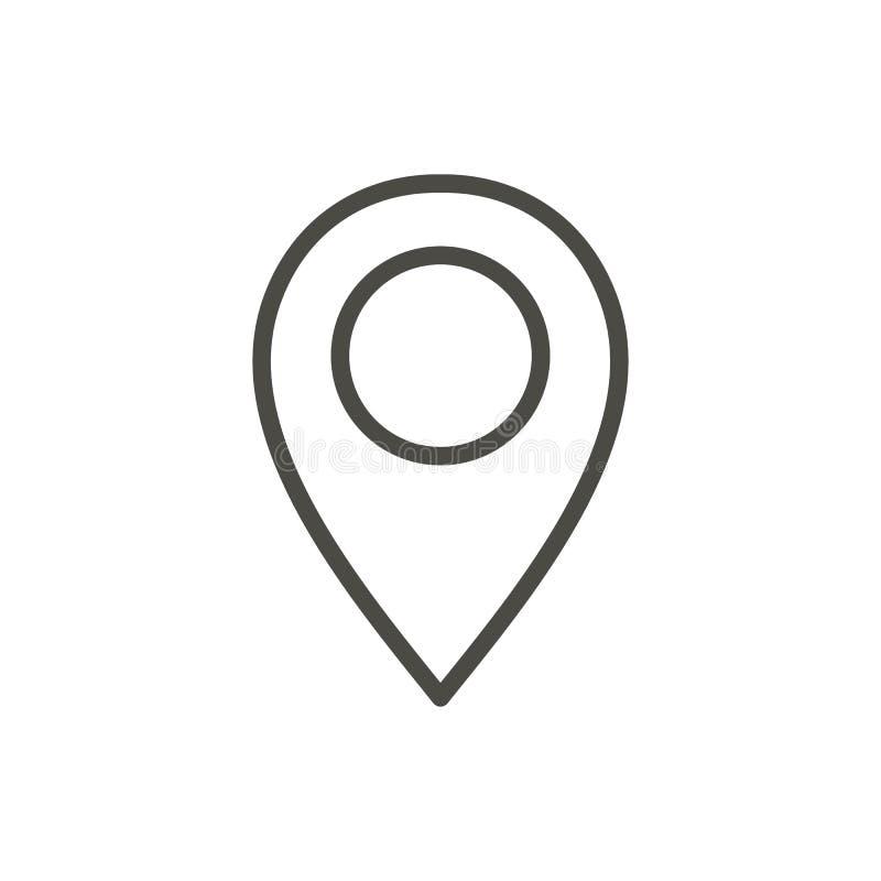 Vetor do ícone do mapa do Pin Linha símbolo de lugar ilustração royalty free