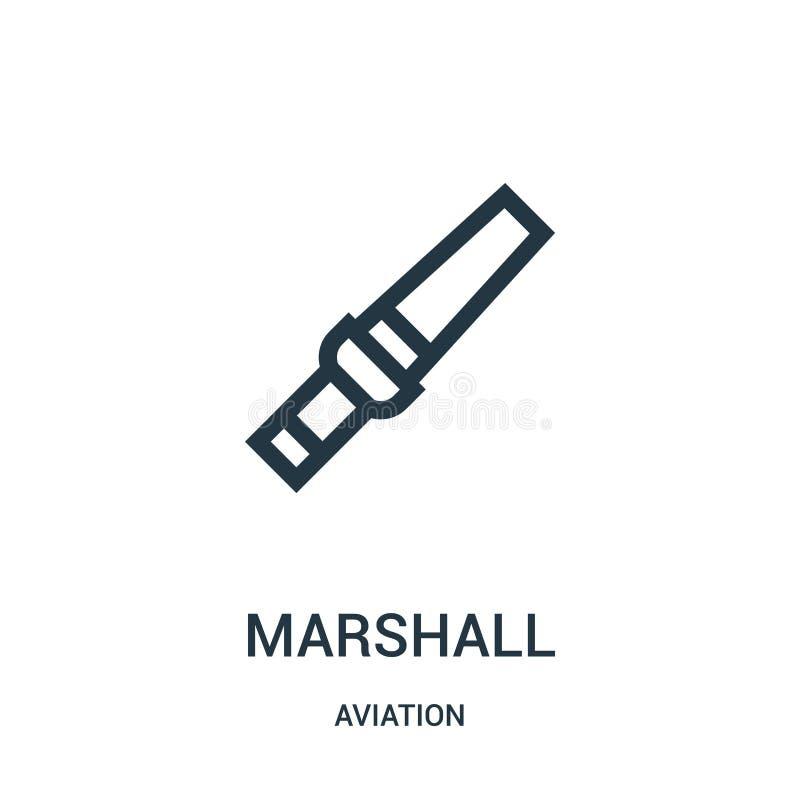 vetor do ícone do marshall da coleção da aviação Linha fina ilustração do vetor do ícone do esboço do marshall Símbolo linear par ilustração do vetor