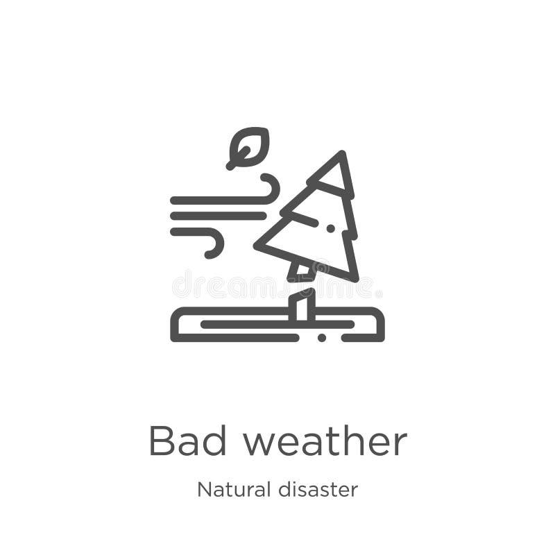 vetor do ícone do mau tempo da coleção da catástrofe natural Linha fina ilustração do vetor do ícone do esboço do mau tempo Esbo? ilustração do vetor