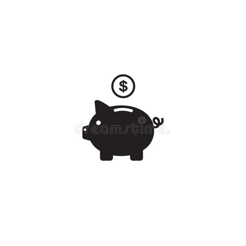 Vetor do ícone do mealheiro com a moeda do dólar e a ilustração lisa do logotipo dos símbolos do sinal do moneybox isoladas no fu ilustração stock